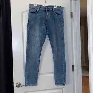 ZARA Men's Straight Leg Stonewash Blue Jeans